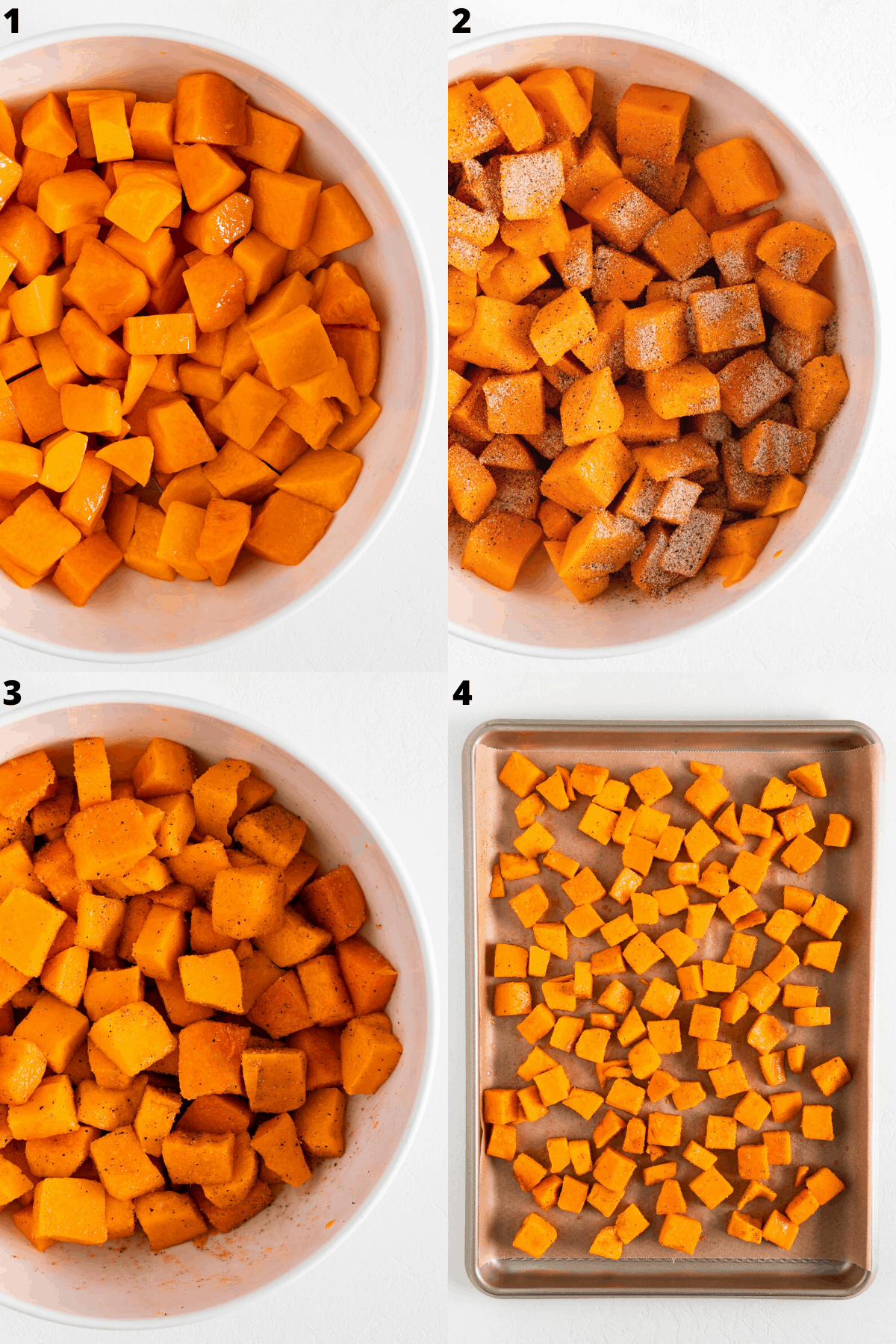 a four part photo collage tossing cubed butternut squash with olive oil and spices inside a white bowl, then placing them on a baking sheet