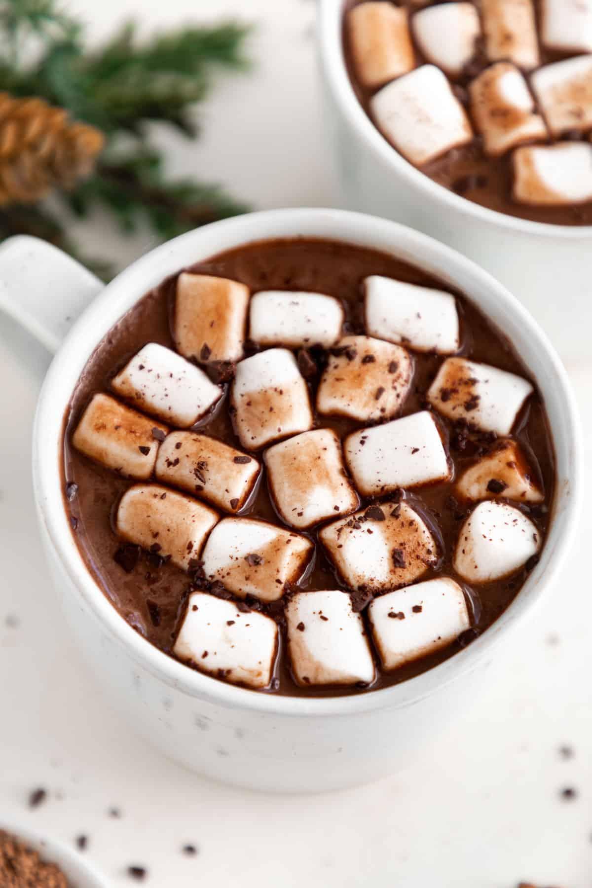 vegan hot cocoa and mini marshmallows inside a white ceramic mug
