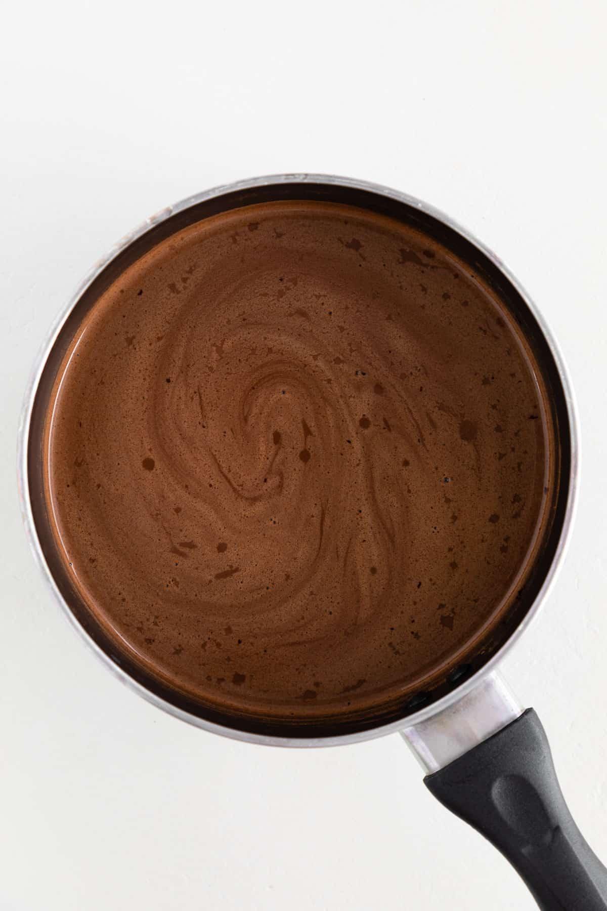 vegan hot cocoa inside a small saucepot