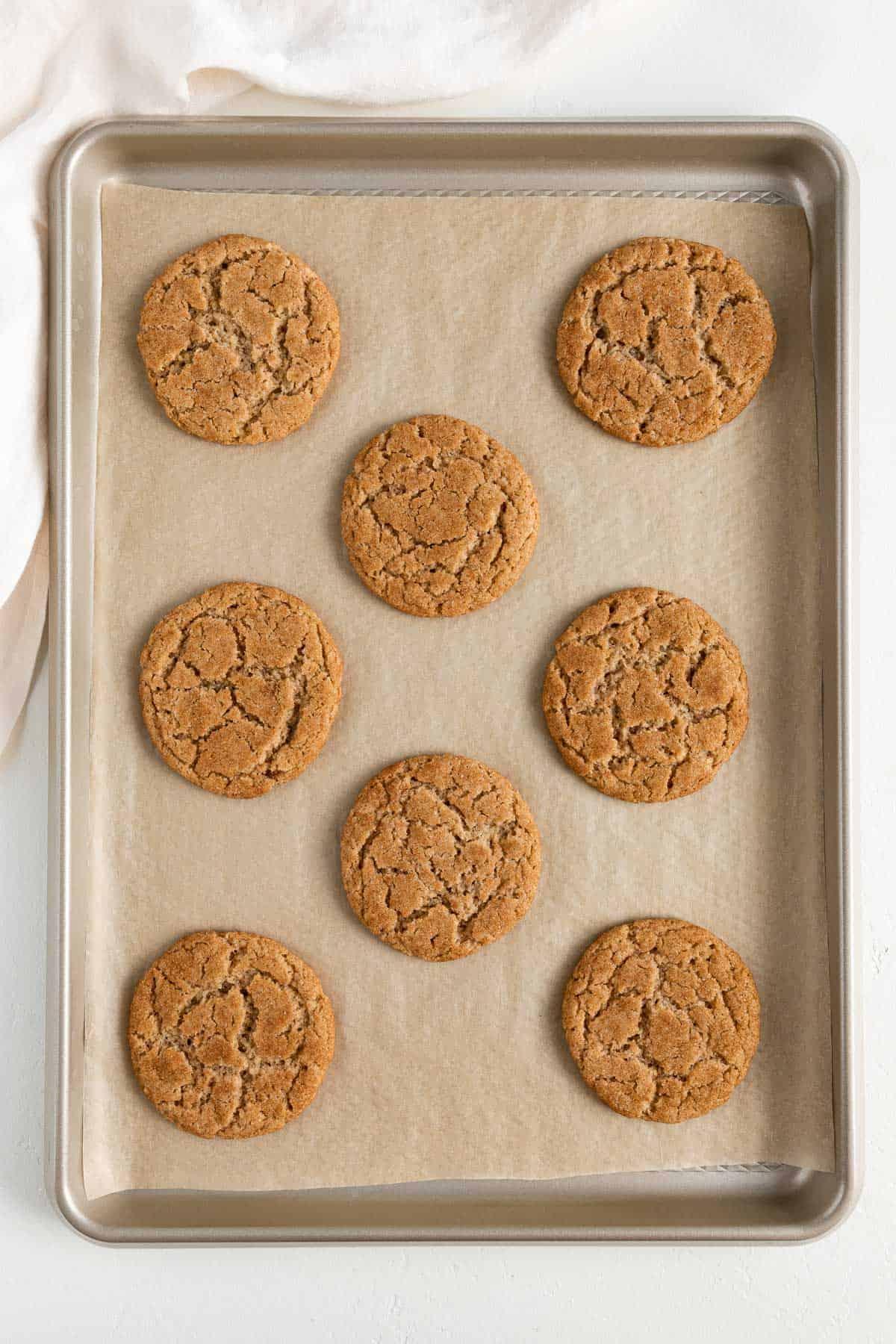 eight freshly baked vegan cinnamon sugar cookies on a baking sheet