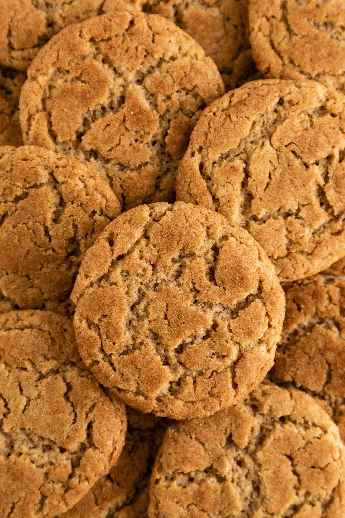 a pile of vegan snickerdoodle cookies coated in cinnamon sugar