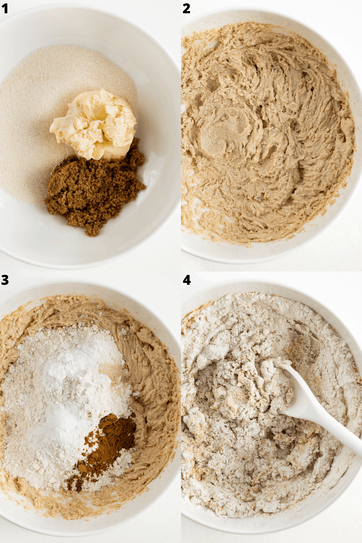 a four part photo collage showing the process of creating cookie dough inside a large white bowl