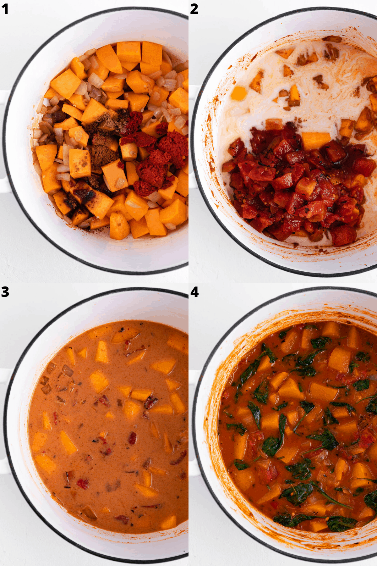 a four image collage combining vegetables, coconut milk, and spices in a large white stock pot