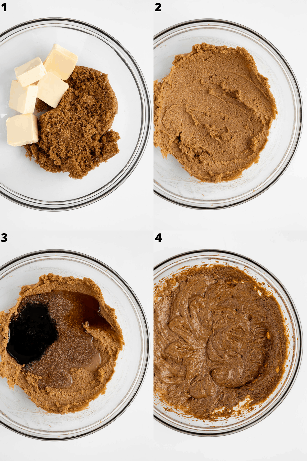 mixing vegan gingerbread cookie ingredients inside a glass mixing bowl