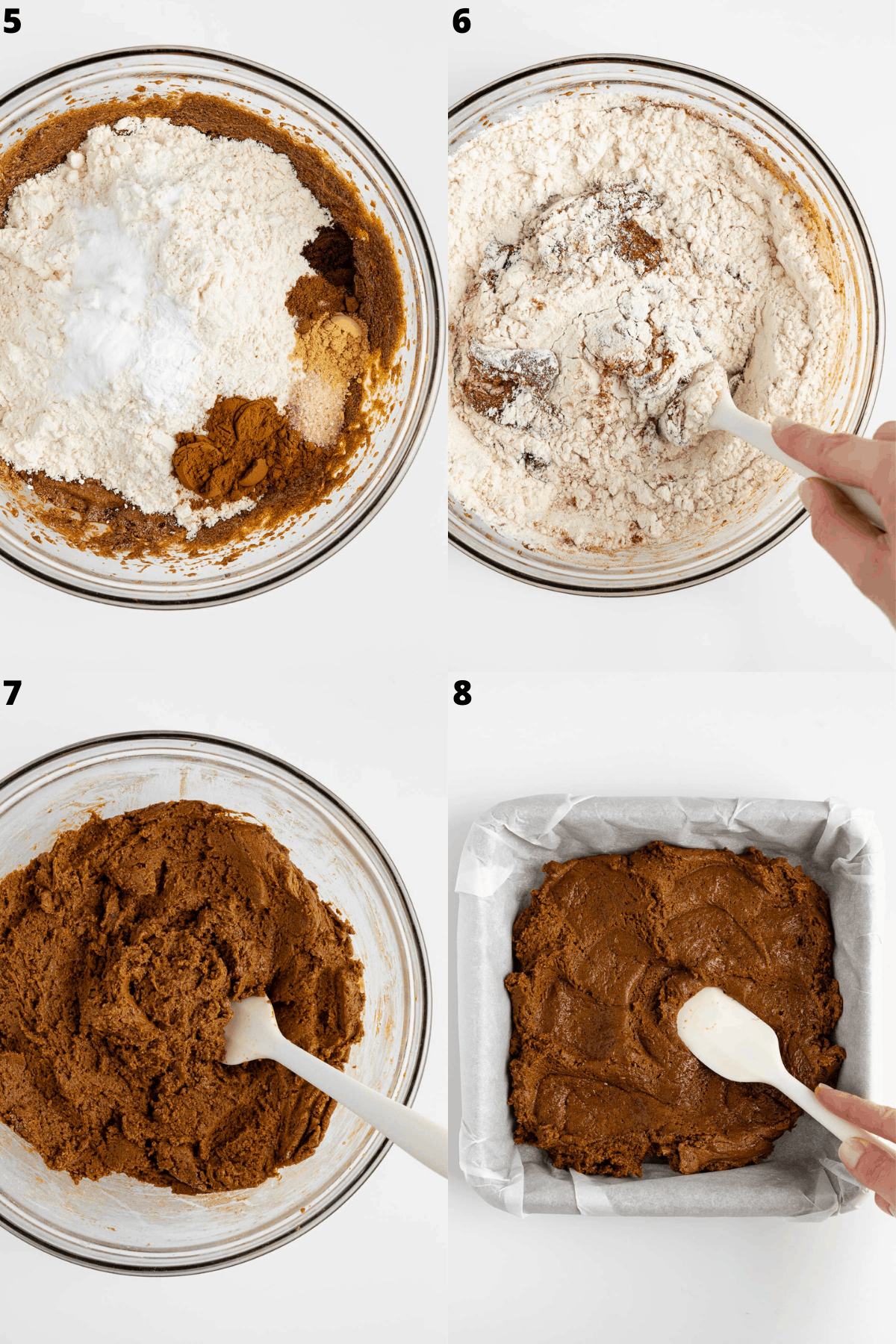 combining vegan gingerbread cookie dough in a glass bowl, then pressing it into a baking dish
