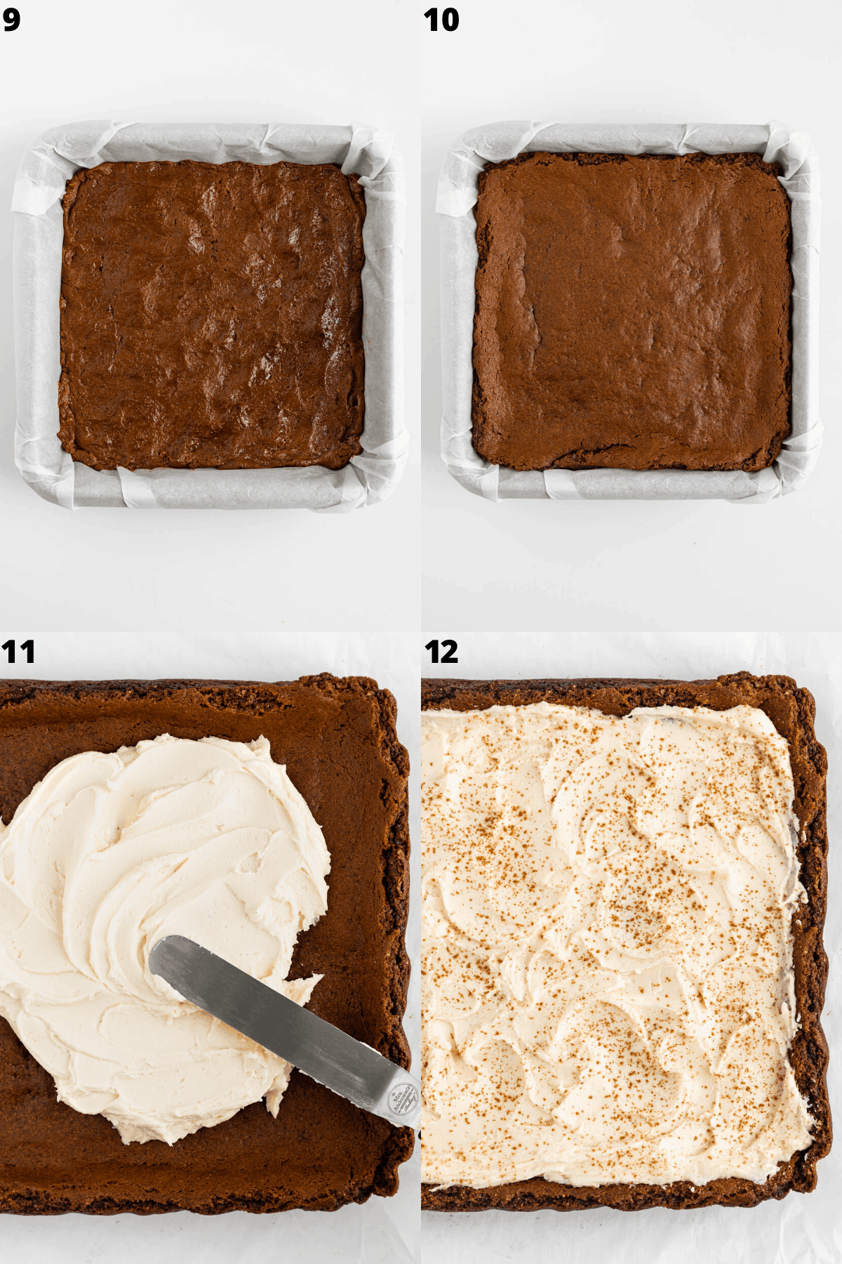 spreading vanilla frosting on top of baked vegan gingerbread blondies