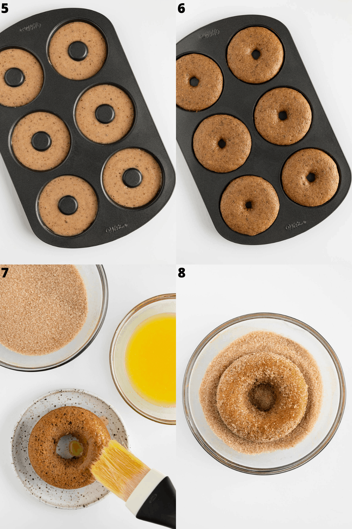 batter inside a donut pan and a pastry brush coating donuts with melted vegan butter