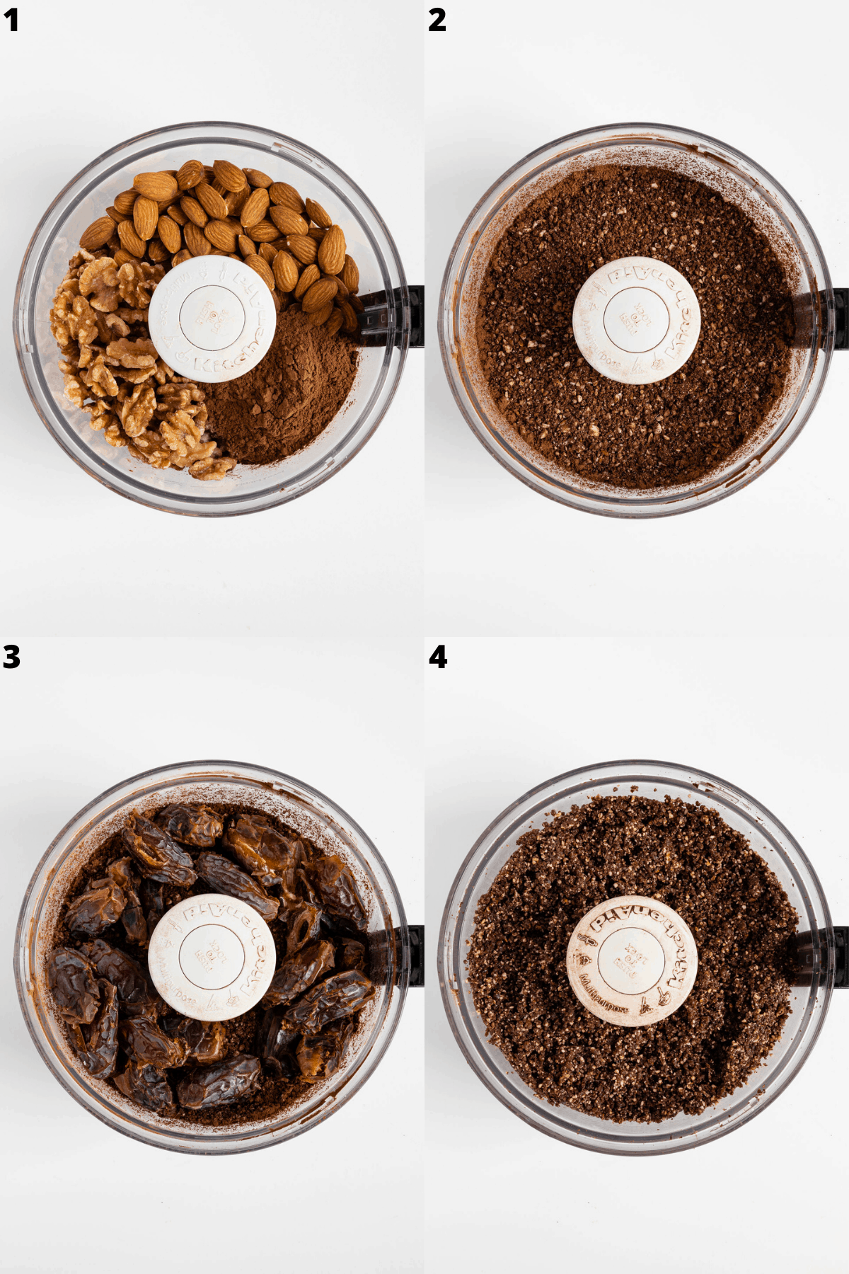 a 4-part collage showing dates, walnuts, almonds, cocoa powder, and medjool dates being combined in a food processor