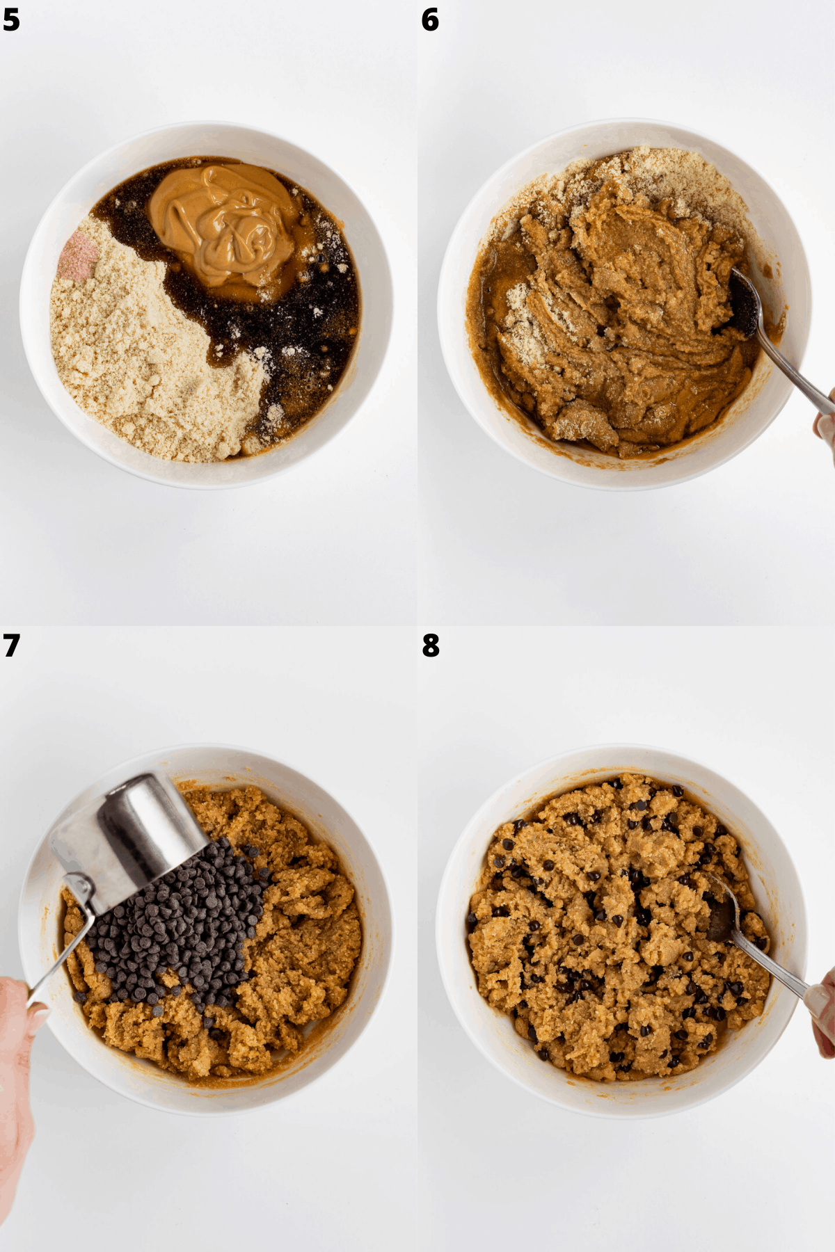 a 4-part collage mixing almond flour, nut butter, maple syrup, and chocolate chips inside a white bowl