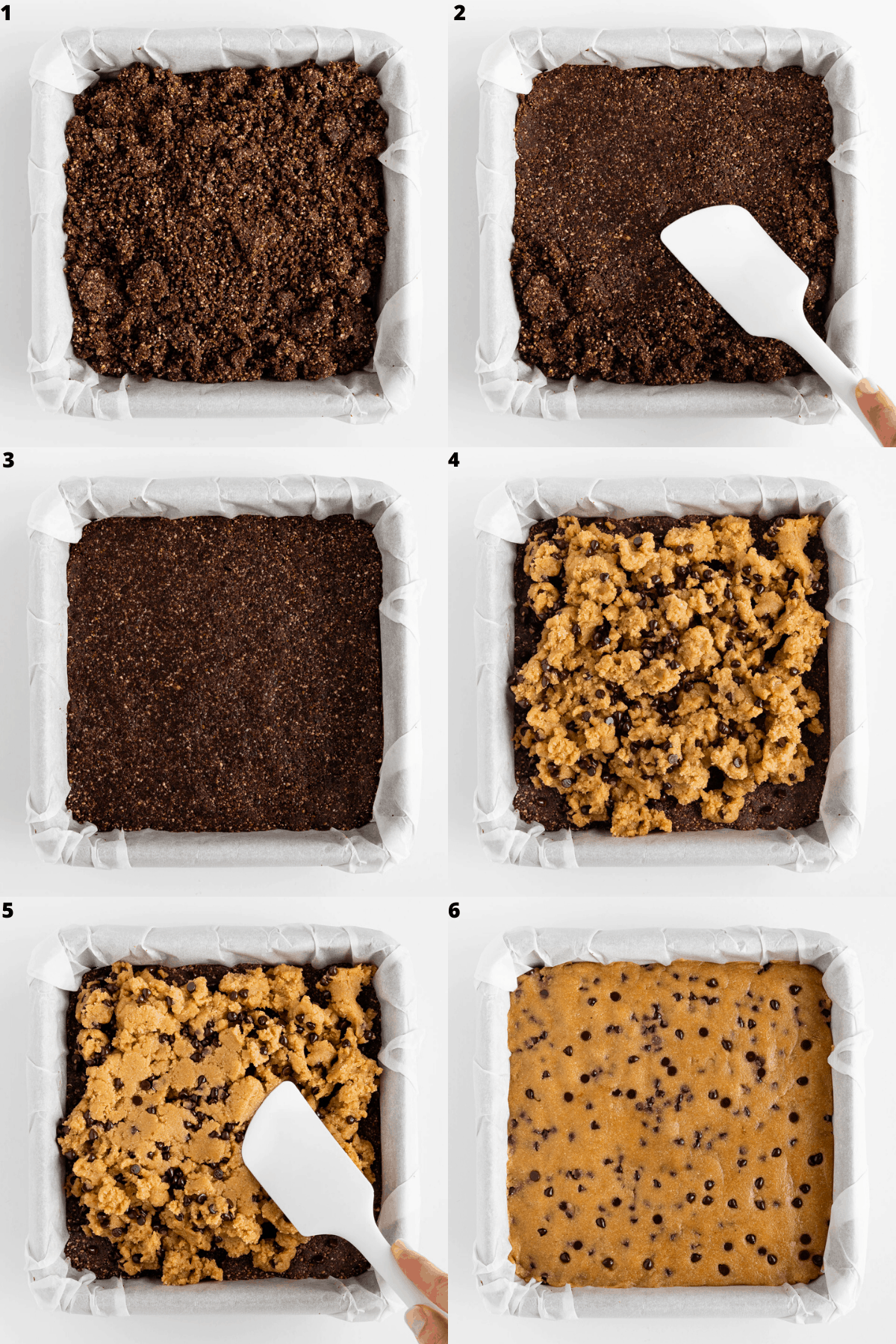 a 6-part collage pressing brownie batter into a baking dish and topping it with cookie dough