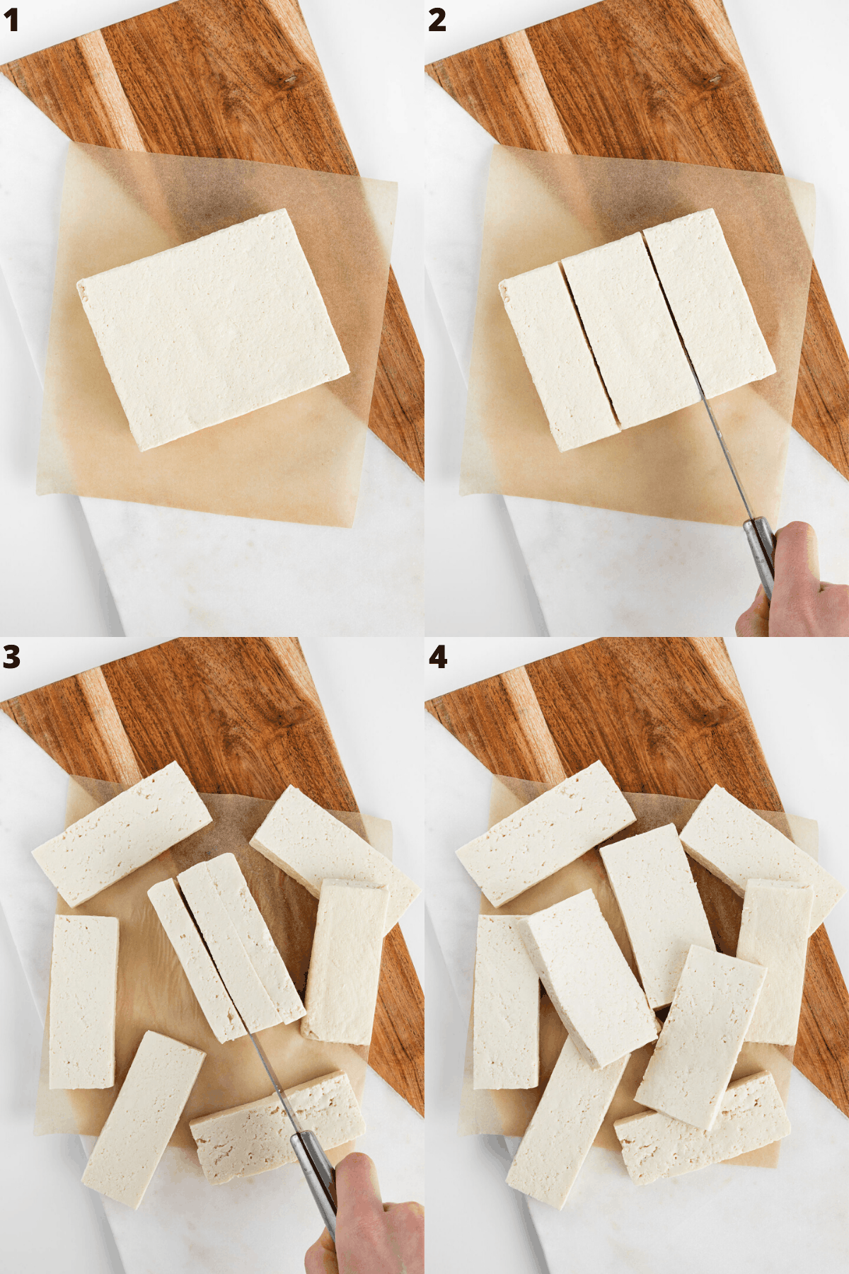 a four part photo collage slicing a block of tofu into strips