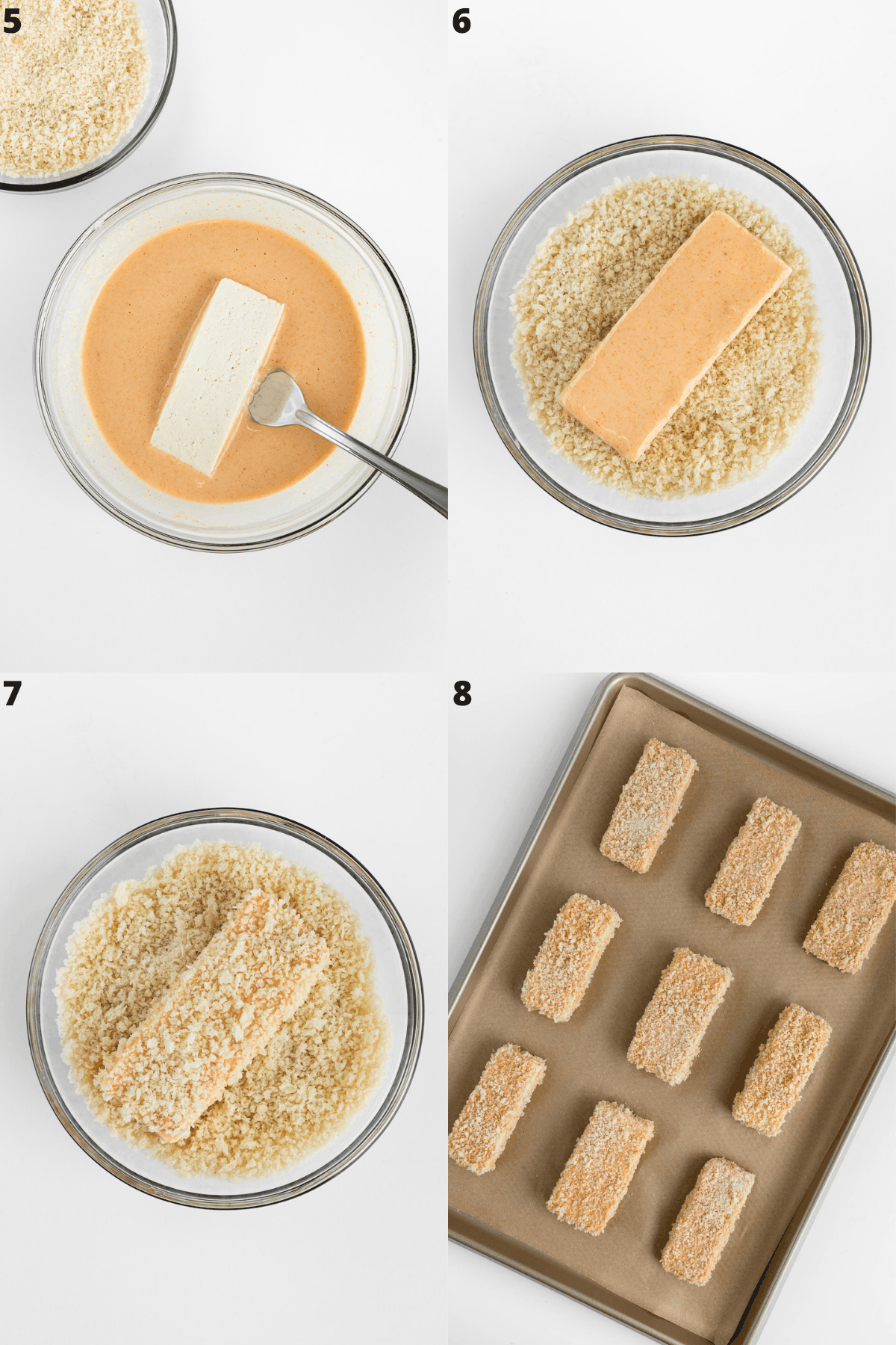a four part photo collage dipping a slice of tofu in batter, a bowl of breadcrumbs, then placing them on a baking sheet