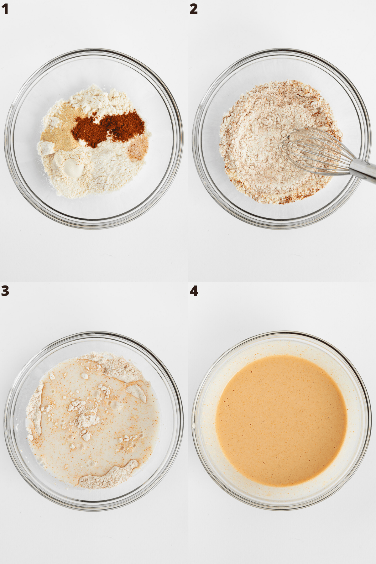 a four part photo collage mixing flour, spices, and plant-based milk in a glass bowl
