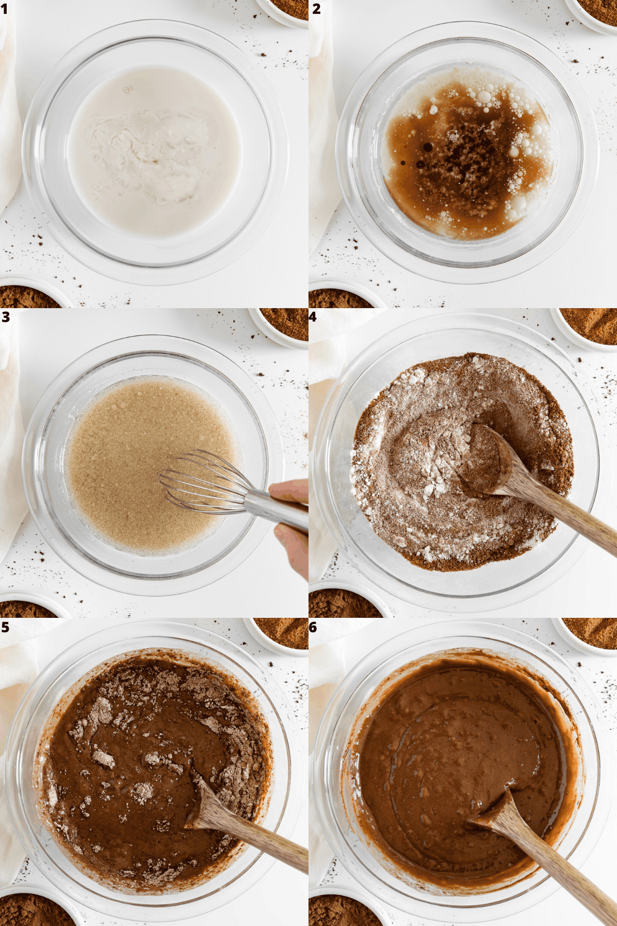 a six part photo collage mixing ingredients together for vegan chocolate cupcake batter in a large glass bowl