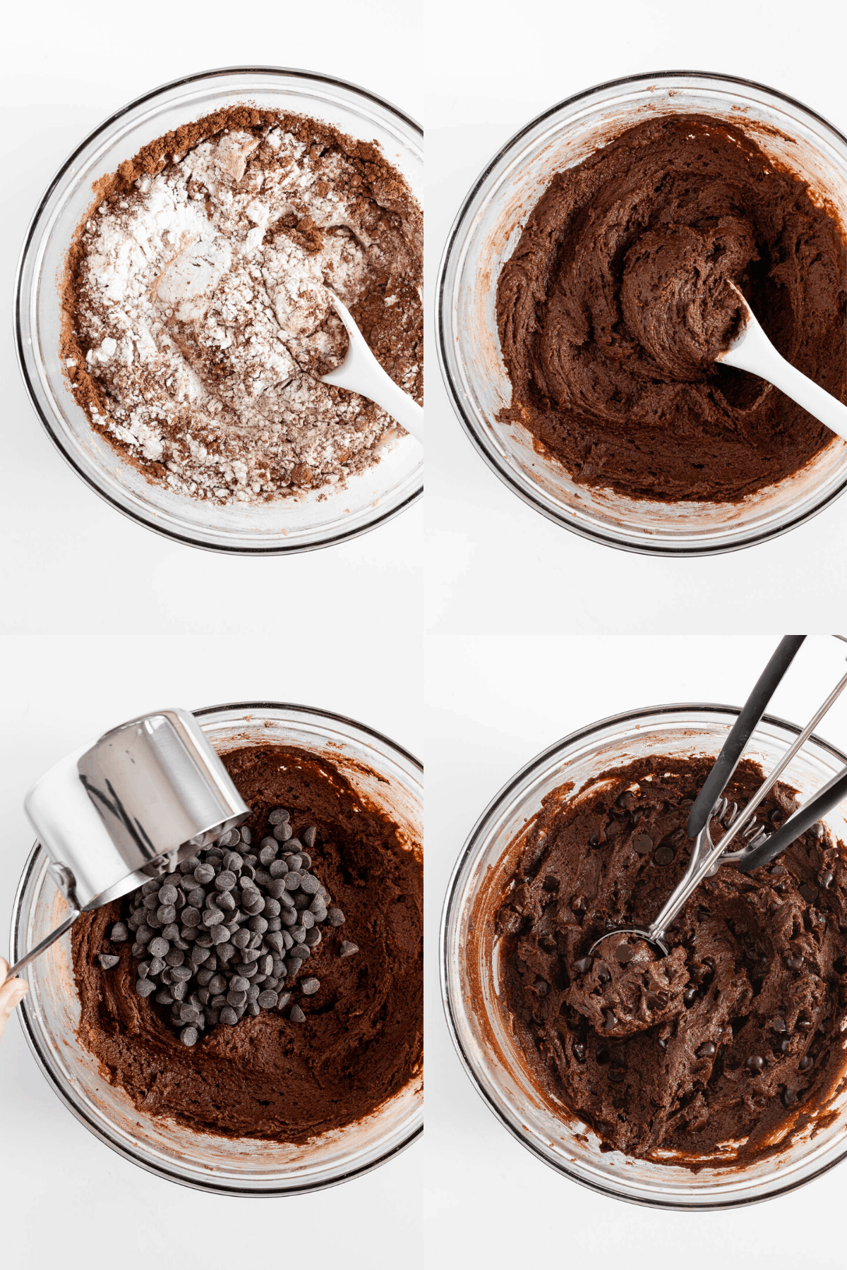 a collage of four photos mixing the ingredients for vegan double chocolate cookies in a large glass bowl