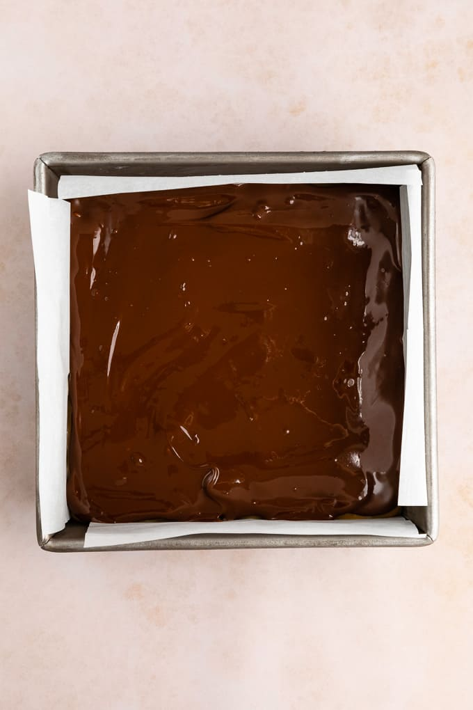 melted chocolate spread across a square baking dish