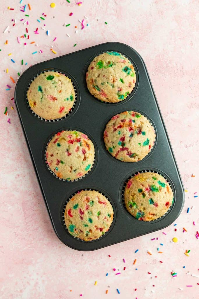 vegan funfetti cupcakes in a 6 slot cupcake tin