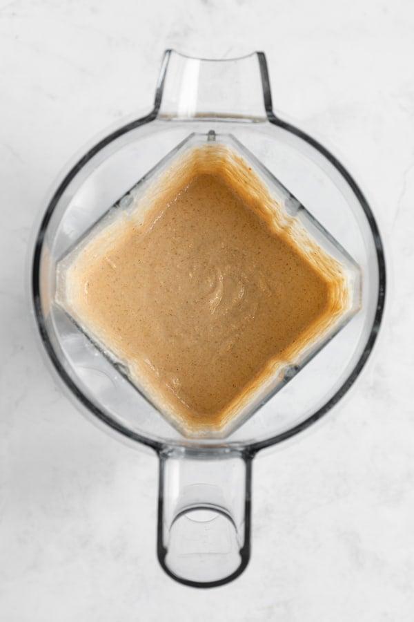 vegan blender pancakes batter inside a vitamix blender