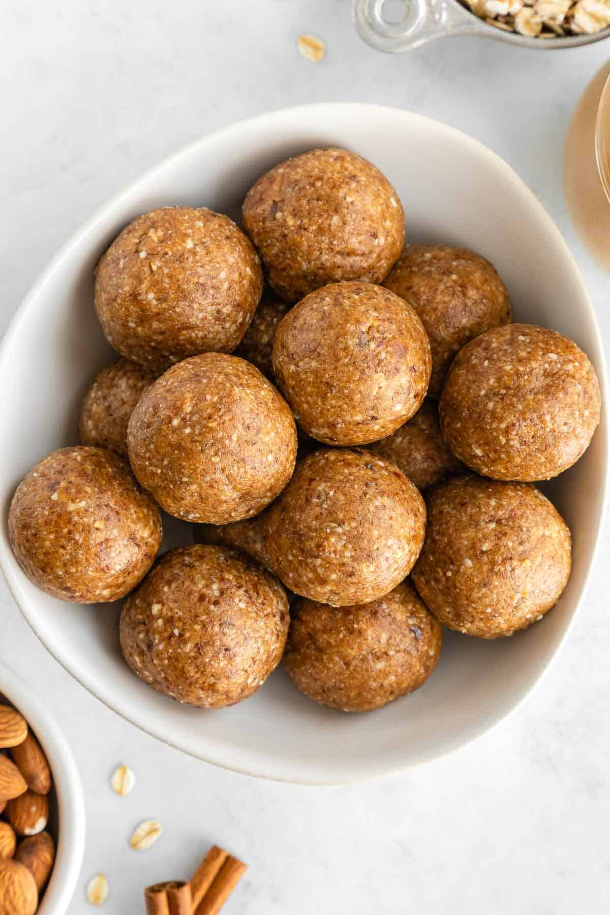 almond butter energy balls in a bowl