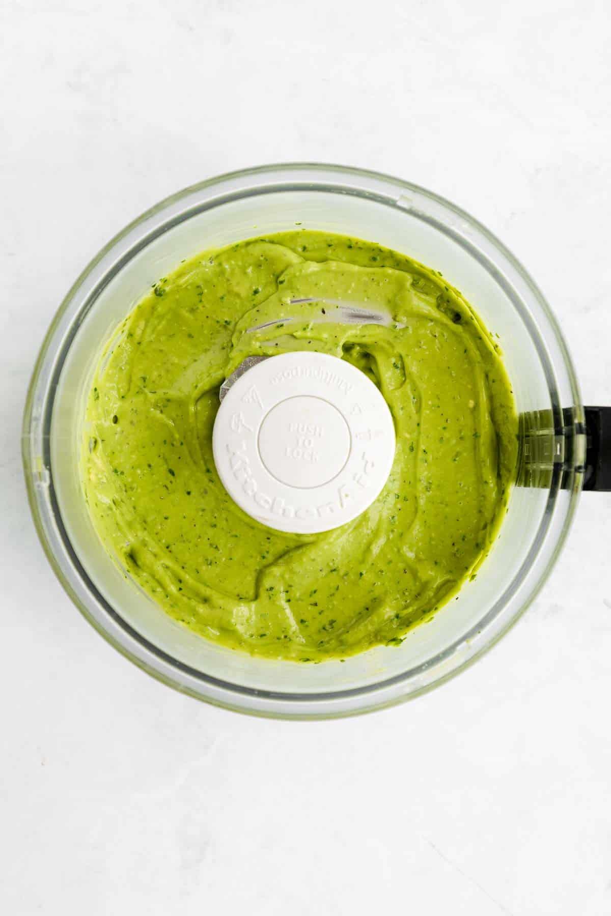 creamy avocado pesto in a food processor