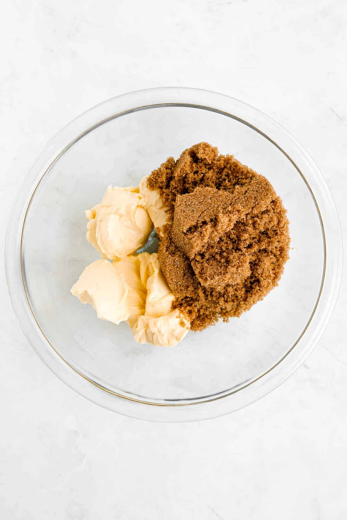 vegan butter and brown sugar in a glass bowl