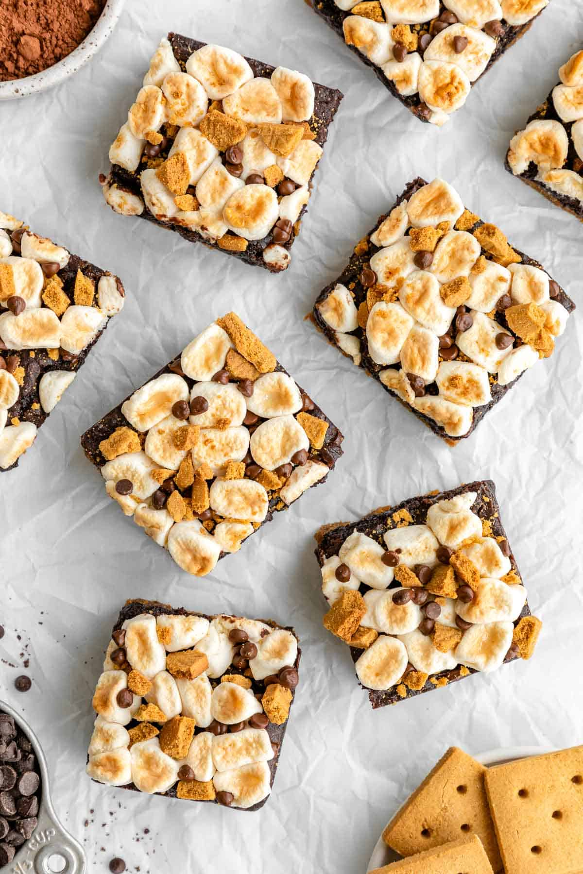 vegan s'mores brownies on white parchment paper