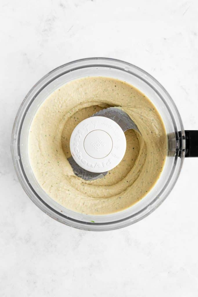 cannellini bean hummus blended in a food processor