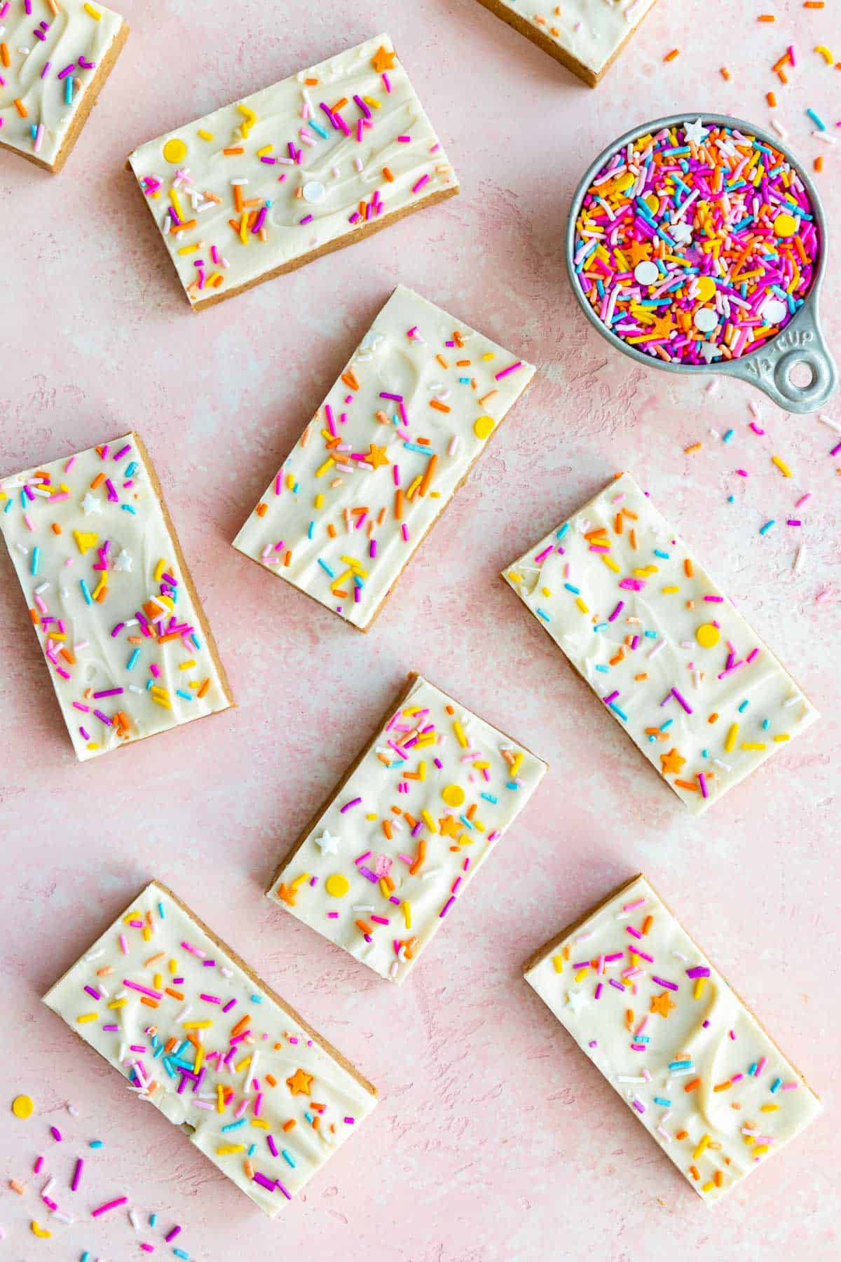 vegan birthday cake protein bars with white chocolate and sprinkles