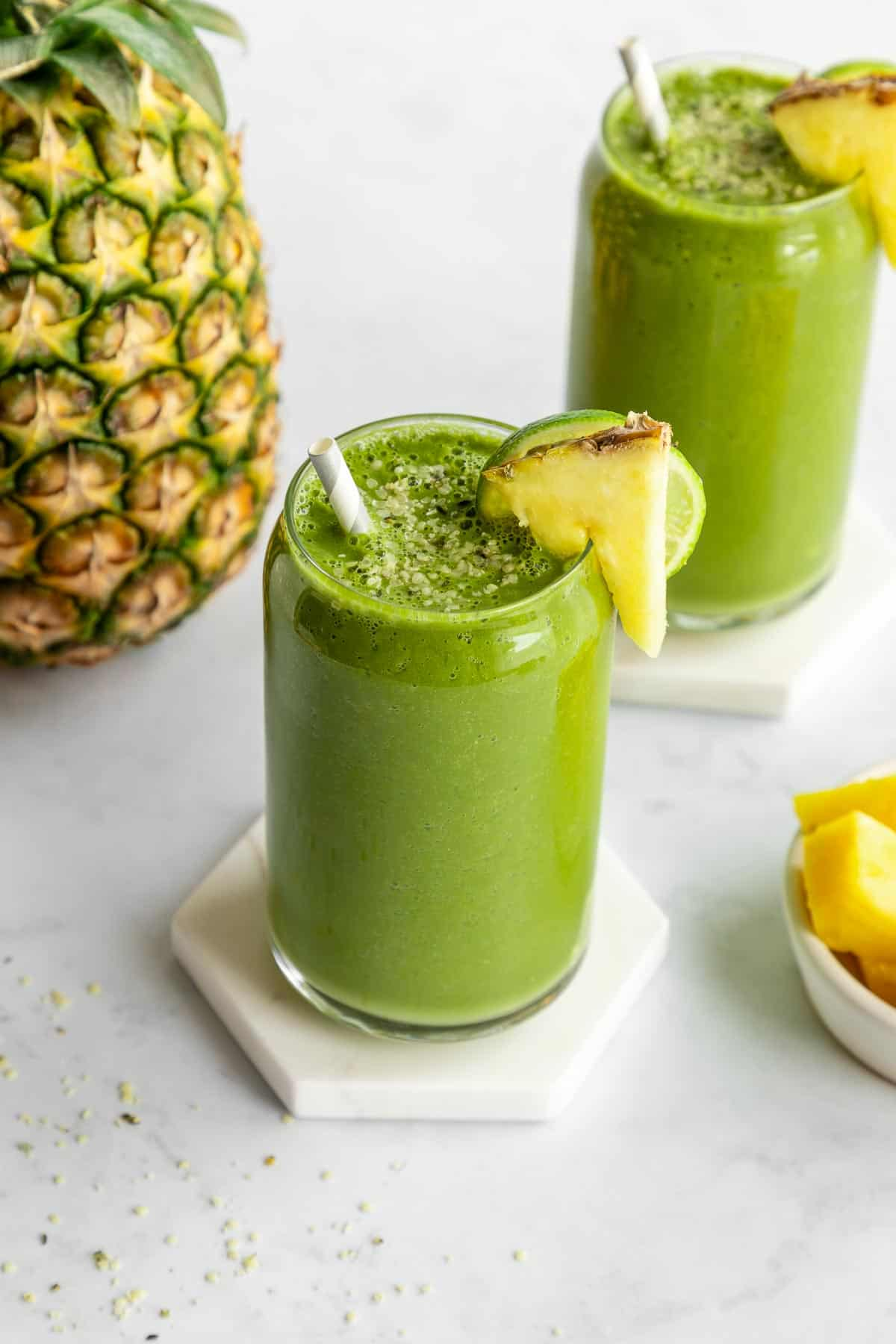 pineapple green smoothie inside a glass