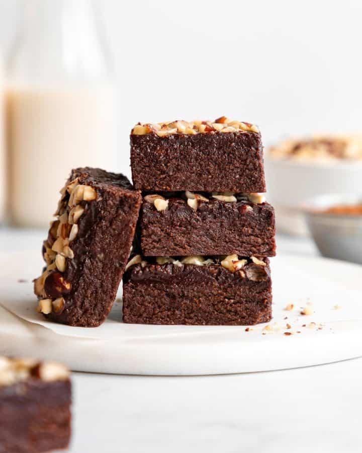 a stack of three no-bake hazelnut brownies