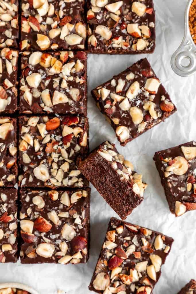 no-bake hazelnut brownies on white parchment paper